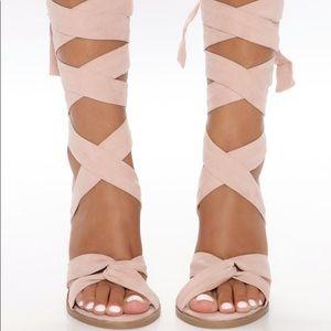 Women's nude lace up heels